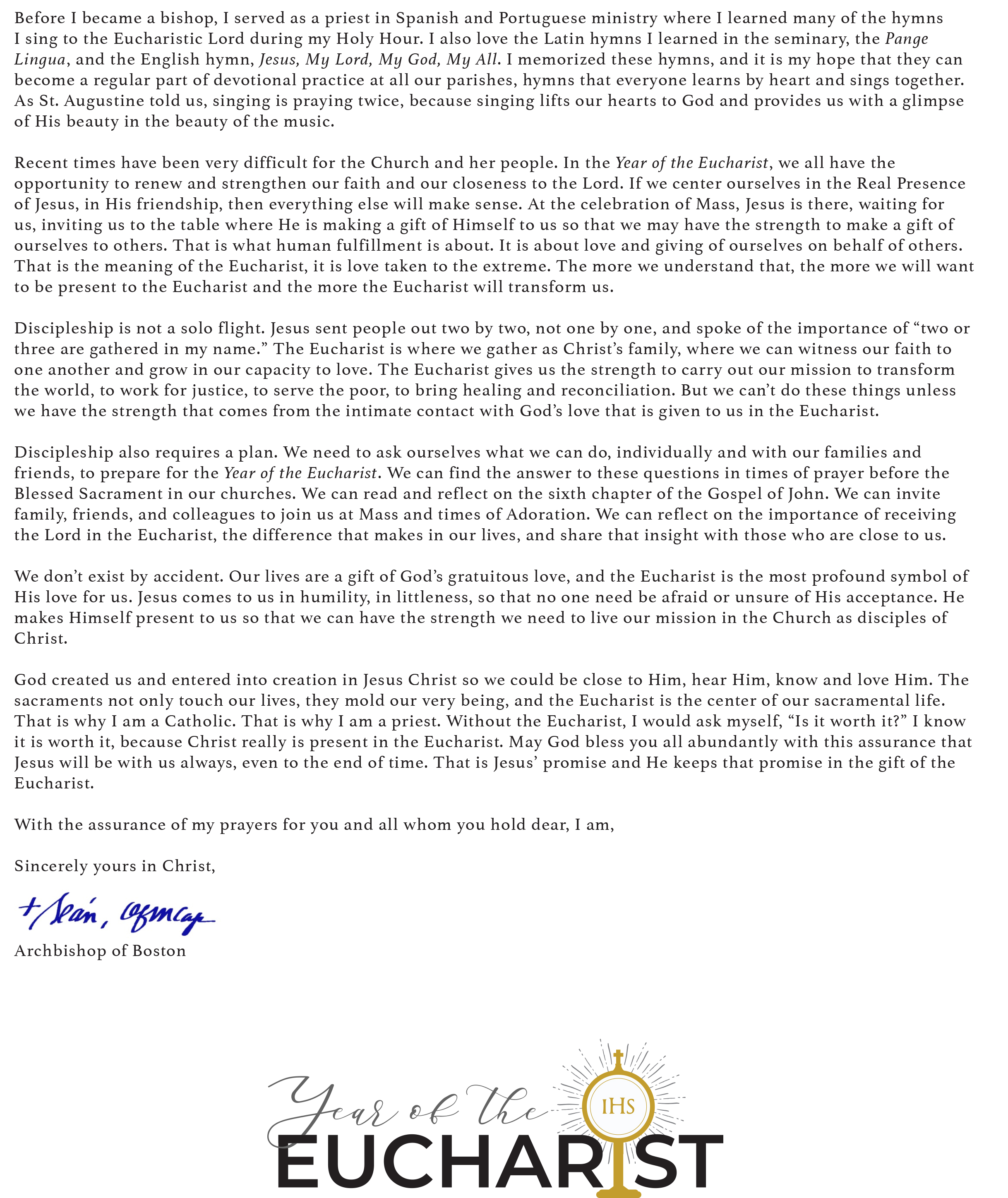 Cardinal Sean's Letter on the Year of the Eucharist Page2