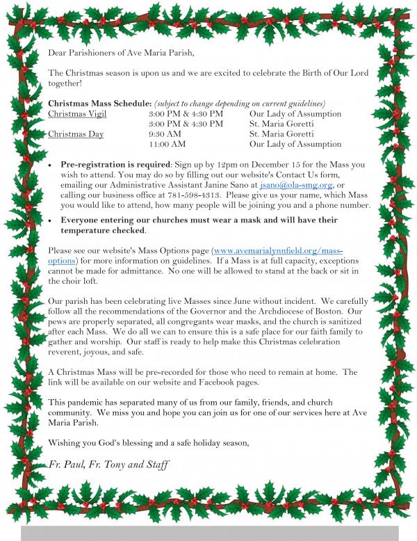 Christmas Letter with Mass Schedule 2020