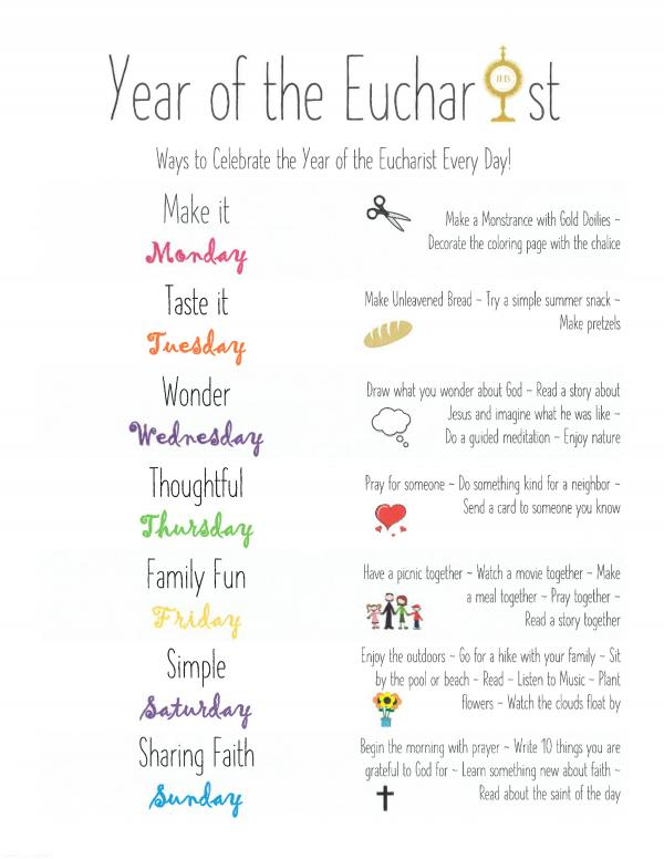 Year of the Eucharist - A Week of Family Activities
